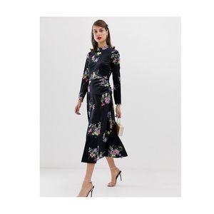 New ASOS Size 2 Velvet Floral Dress High Neck